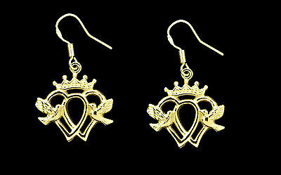 NICE Crown Dove Heart Luckenbooth Claddagh Earrings Gold Plated Sterling silver