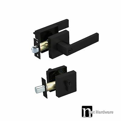 Entrance Door Handles Lock & Deadbolt Set (3111MB) - Matt Black Finish Handle