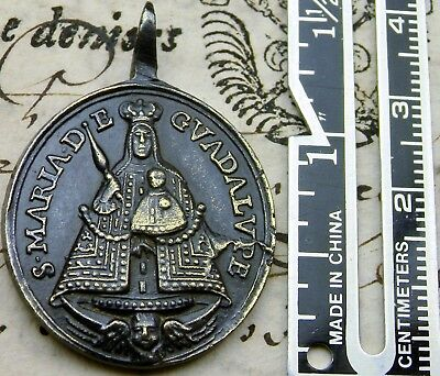 Antique St. Jerome & Our lady of Guadalupe, of Extremadura Spain, Shrine Medal