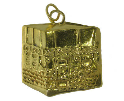 NICE Solid Real Genuine 10K Yellow Gold Kaaba Mecca Hajj Charm Pillar Islam Alla