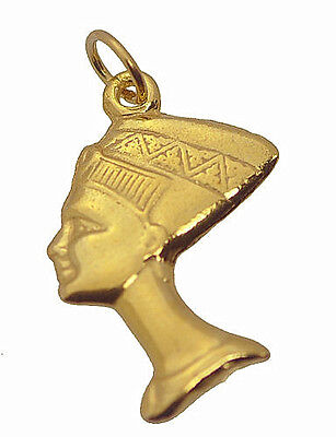 NICE Yellow 24K Gold plated Nefertiti bust charm Egyptian queen Royal Wife Jewel