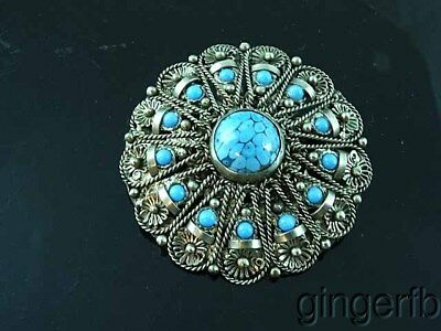 Vintage Asian Filigree Silver & Turquoise Brooch Pin Pendant