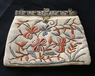 Antique Chinese Forbidden Stitch & Gold Embroidery Clutch Purse Handbag