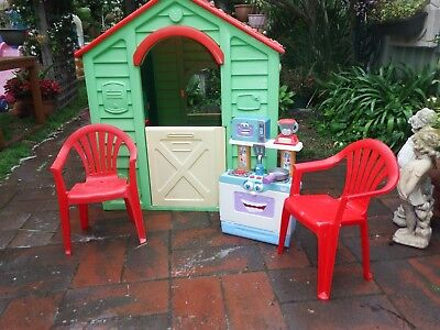 Plastic Kids Cubby House Car & Trolley Good Condition