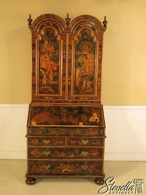 L29286E: MAITLAND SMITH Black Chinoiserie Decorated Secretary Desk