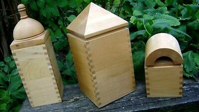 Vintage Postmodern / Memphis style finger jointed birch BOXES - lot of  three