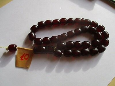ISLAMIC TURKISH BAKELITE RED CHERRY FATURAN FULL RPRAYER  47g