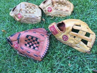 "Lot of 4 RAWLINGS 12.5"" INCH Baseball softball gloves RBG36 26 km 10 MADE IN USA"