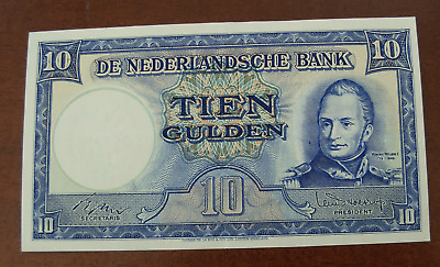 Netherlands 1945 10 Gulden Note P75b Correct Date