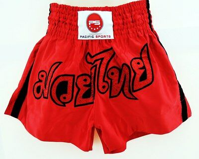 Red satin Thai Kick boxing shorts
