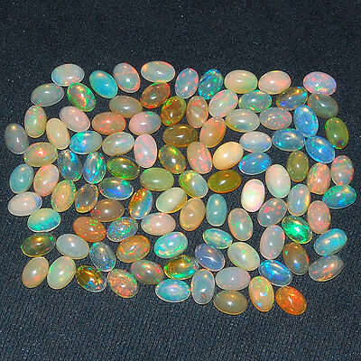 101 Pcs ~ 6mm/4mm ~Certified Lot~ Natural Ethiopian Opals ~ Strong Color Play
