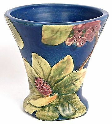 "WELLER POTTERY MARKED FLEMISH BLUE RHODODENDRON 6 7/8"" TAPERED VASE  Circa1920s"