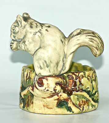 "WELLER POTTERY 4 5/8""  WOODCRAFT WHITE SQUIRREL on the STUMP BOWL, c1920's"