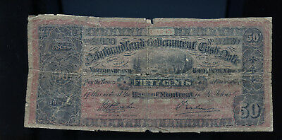 1912-13 Newfoundland Government 50 Cents Cash Note Low Grade Filler  BL1782