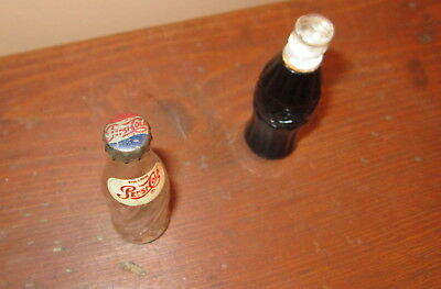 Vintage Miniature Pepsi Cola Bottle And Coca Cola Lighter...