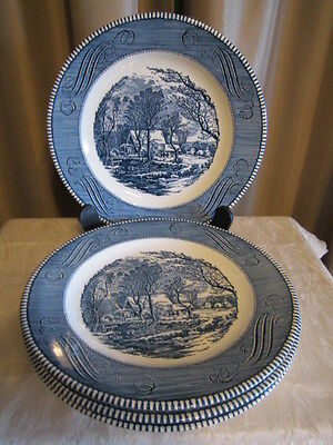 "4 Currier & Ives Dinner Plates Royal China ""Mill Stream""  Blue and White 10"""