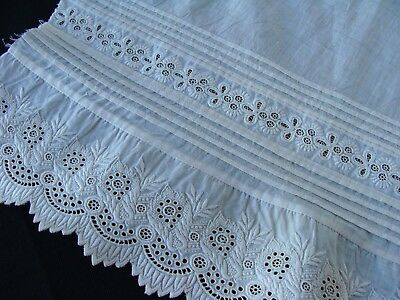 Antique Ayrshire Whitework Cotton Lace Fragment Pintucks