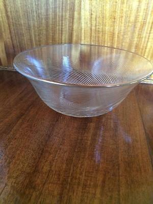 VINTAGE 1980s MIKASA CRYSTAL GLASS BOWL RIBBED SWIRL WITH 24K GOLD EDGE TRIM