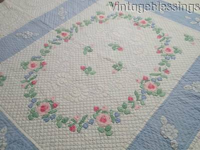 """Simply Gorgeous! Pink Roses Applique on Blue and White VINTAGE 30-40s QUILT 88"""""""