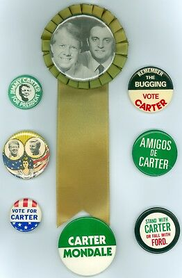 8 Vintage 76-80 President Jimmy Carter Political Campaign Pinback Buttons AMIGOS