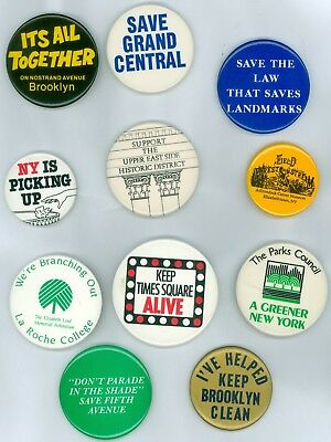 11 Vintage 1980s New York City Conservation Pinback Buttons - NY Is Picking Up