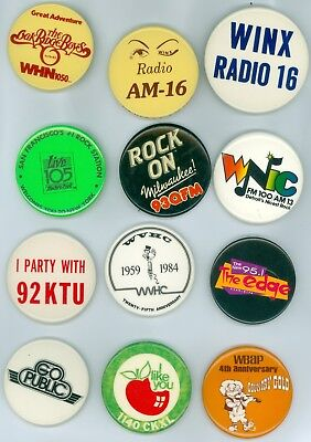 12 Vintage 1970s-80s Assorted Radio Stations Adv Pinback Buttons - WINX Radio 16