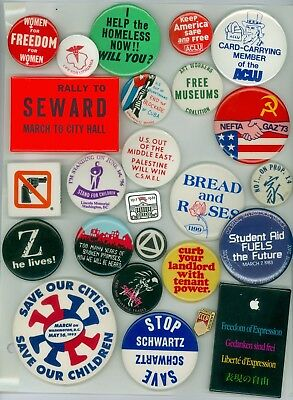 24 Vintage 1970s-80s Peace Protest Cause Pinback Buttons - Life For Lithuania