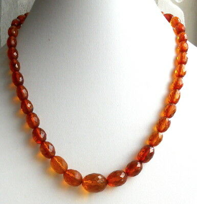 Gorgeous Genuine Faceted Oval Graduated AMBER BEADS Vintage NECKLACE