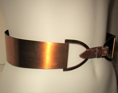 "VTG Renoir Copper Belt 2.5"" Wide Curved Waist Cincher Leather Buckle RETRO S/M"