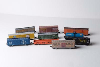 Mixed Lot of 10 N Scale Freight Cars Box Cars, Tank Car, Gondola, Covered Hopper