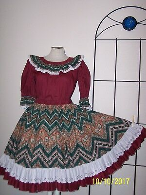 Burgandy paisley western rodeo square dance skirt blouse   NEW