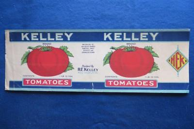 Vintage Can Label Kelley Tomatoes H E Kelley New Church Virginia 1lb 12oz