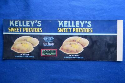 Vintage Can Label Kelley's Sweet Potatoes H.E. Kelley New Church Virginia