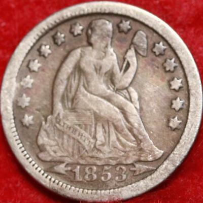 1853 Silver Philadelphia Mint Seated Liberty Dime Free Shipping