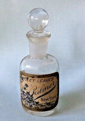 Solon Palmer VIOLET LEAVES Vintage Perfume Bottle w/ Glass Stopper  3&1/4""