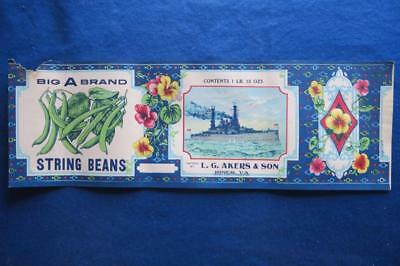 Vintage Can Label Big A Brand String Beans L.G. Akers & Son Riner VA