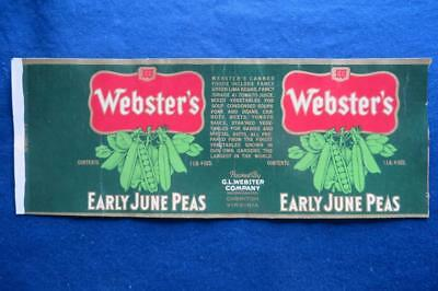 Vintage Can Label Webster's Early June Peas G.L. Webster Co Cheriton VA