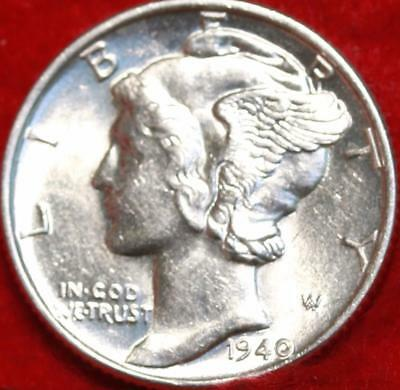 Uncirculated 1940 Philadelphia Mint Silver Mercury Dime Free Shipping
