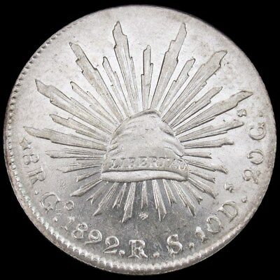 1892-Go RS Mexico 8 Reales Silver Coin - KM 377.8 Second Republic