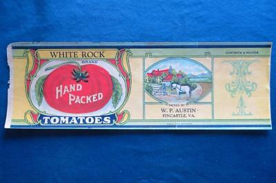 Vintage Can Label White Rock Brand Tomatoes W.P Austin Fincastle VA