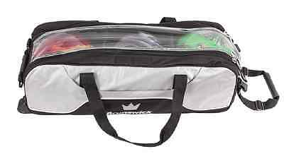 Brunswick Crown Triple 3 Ball Tournament Tote Bowling Bag with tow wheels Silver