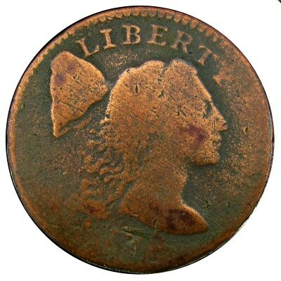 Flowing Hair Large Cent - Good (Details) Liberty Cap - Date? Possible 1795 S-77