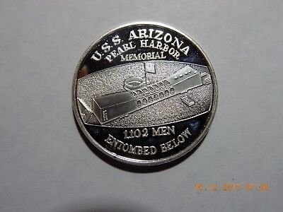 USS Arizona / Pearl Harbor Memorial Proof .999 Silver 1 Troy Oz. Medal