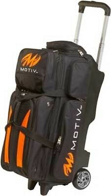 Motiv 3 Ball Deluxe Roller Bowling Bag with 5 Inch Urethane Wheels Black/Orange