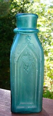 1800s Smaller Ornate Cathedral Pickle Very Dark Aqua - Damaged