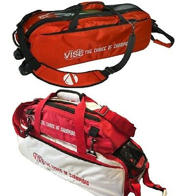 Vise 3 Ball Tote Bowling Bag with shoe pocket White/Red &  Red 3 Ball Tote Red
