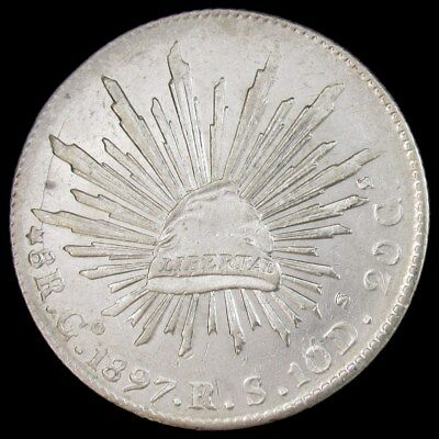 1897-Go RS Mexico 8 Reales Silver Coin - KM 377.8 Second Republic