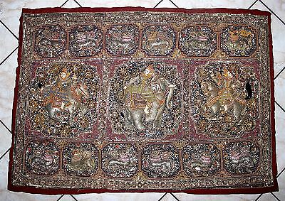 """c'19th C KALAGA Burmese Myanmar Relief Tapestry Sequined Beaded Couching 51""""x36"""""""