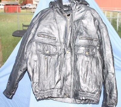 Black Italian Stone Design Navarre Leather XXL Unique Leather Jacket w Liner