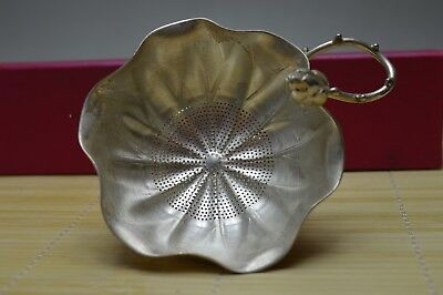 108 gram Purity S999 Fine Solid Silver Hand Made Lotus Tea Strainer